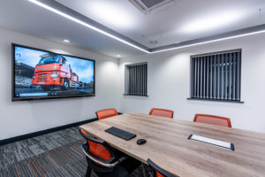 AV system including LED display in board room